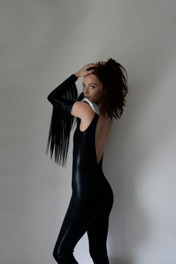 SS14 - Black Shine Backless Catsuit