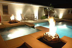 external pool heated with gas