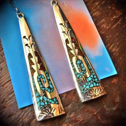 Turquoise Coral Inlay Earrings