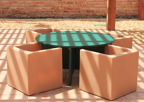 Circle Table & (4) Cube Chairs (Toddler/Preschool various hts)
