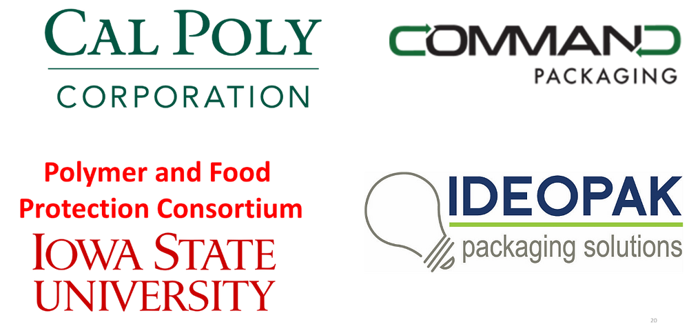Funding by these companies, Cal Poly, Command Packaging, Iowa State, Ideopak