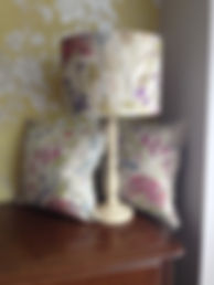 Cushions and matching lampshade bespoke design and commissioned at The Sewing Parlour in Northwich