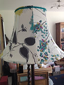 Teal and white bespoke lamp shade created at The Sewing Parlour in Northwich