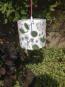 Bespoke botanical style lampshade made to order at The Sewing Parlour Northwic - hanging in garden