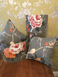 Matching cushions and lamp shades in botanical theme grey & pink by The Sewing Parlour in Northwich