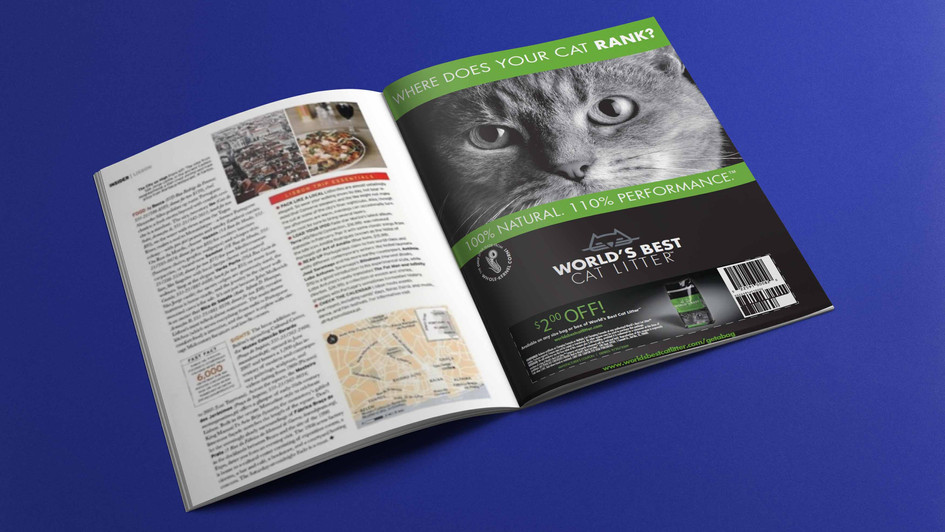 World's Best Cat Litter magazine ad-brand relaunch