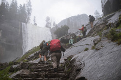 Guide with hikers on the Mist Trail