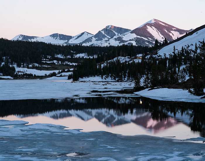 Snow on Tioga Lake