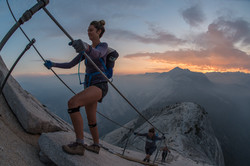 Hikers at Sunrise on the Cables