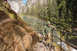 Hiker on The Mist Trail