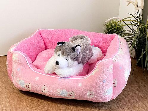 หมาเจ็บ เบาะโซฟาผ้าขนนุ่ม #3 (ลาย Teddy ชมพู) น้ำหนักไม่เกิน 8 กก.