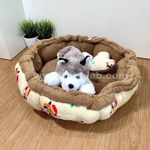 หมาเจ็บ เบาะฟักทองผ้าขนนุ่มใช้ได้ 2 ด้าน (ลายซานต้าแพนด้าแดง) สำหรับน้องหมา-
