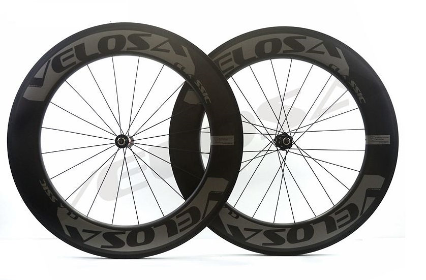 Roues carbones VELOSA Off Grey 86 pneus