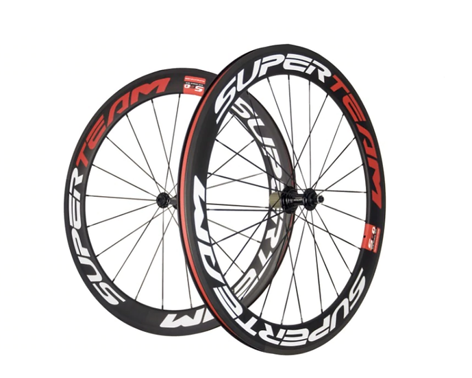 Roues carbones SuperTeam 55 pneus