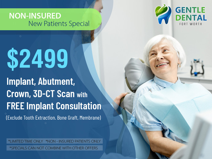 Gentle Dental_ $2499 Implant, Abutment, Crown, 3D-CT Scan with Free Dental Implant Consult