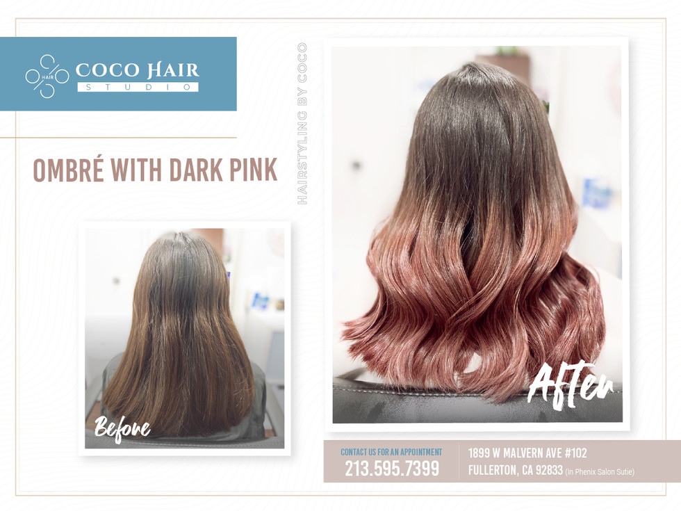 Before & After | Ombré with Dark Pink