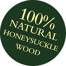 Green roundel with text 100% Natural Honeysuckle Wood