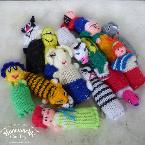 Bundle of small colourful knitted characters on a white mottled background with text Honeysuckle Cat Toys