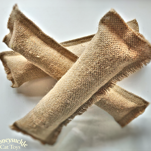 Bundle of three hessian honeysuckle play kickers placed on a white background with text Honeysuckle Cat Toys