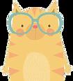 Orange striped cartoon cat wearing glasses