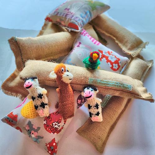 Bundle of hessian honeysuckle play kickers, honeysuckle cuddle cushions and honeysuckle knitwits
