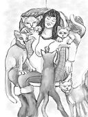 Drawing showing a woman sitting down with cats sitting on her legs, arms and shoulders