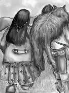 Drawing showing the backs of two women walking, one with a cat on her shoulders