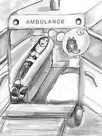 Drawing showing cat sitter in ambulance thinking about a cat