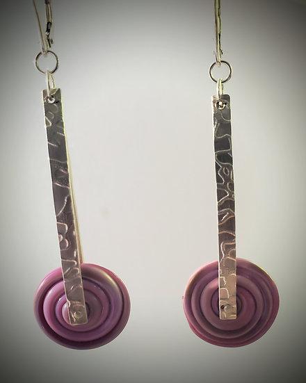 Riveted Glass Disc Earrings