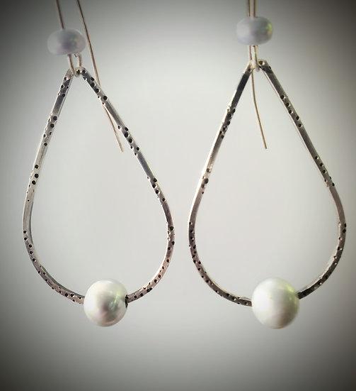 Grey Pearl Teardrop Hoop Earrings