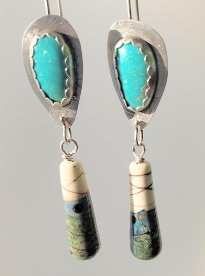 Handmade Art Glass Beads and Turquoise Earrings