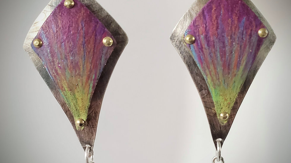 Colored Pencil Earrings on sterling silver