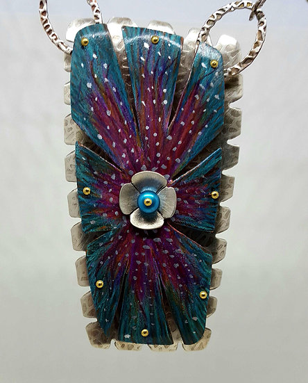 4 Layered Flower Colored Pencil & Sterling Necklace