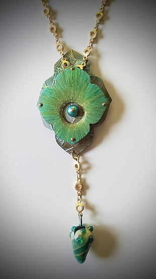 Layered Colored Pencil Pendant with Handmade Art Glass Drop