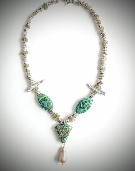 Handmade Art Glass Beads and Pearl Necklace