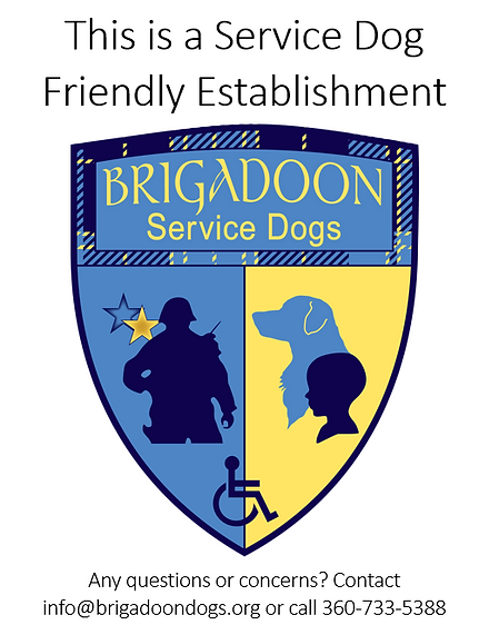 service dog friendly business sign