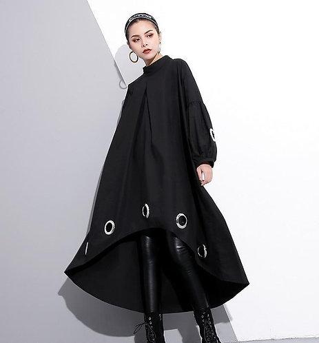 Mitsukazu Grommet Long Sleeve Dress