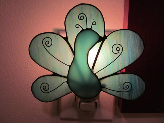 Stained Glass Peacock Night Light