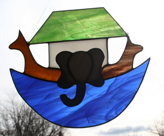 Noah's Ark STained Glass Suncatcher