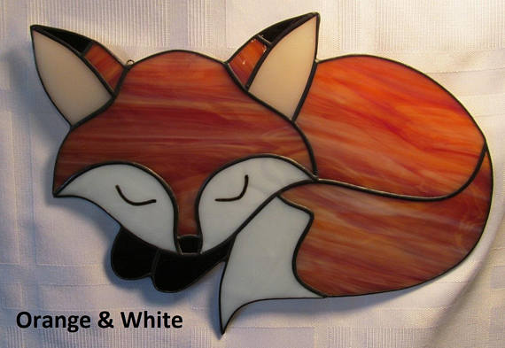 Sleeping Fox Stained Glass Suncatche