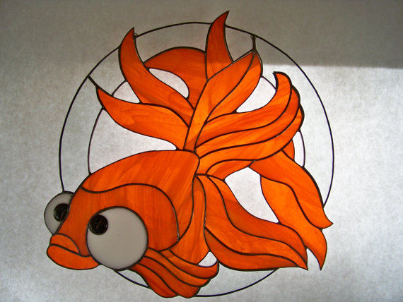 Big Eye Fish Stained Glass Suncatche