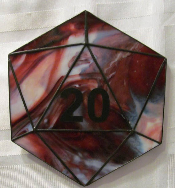 D20 Stained Glass Suncatcher