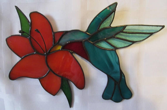 Hummingbird with Lily Stained Glass