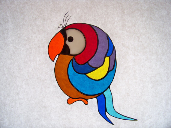 Stained Glass Colorful Parrot Suncat