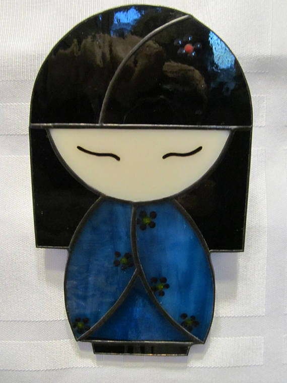 Japanese Kokeshi Doll Stained Glass