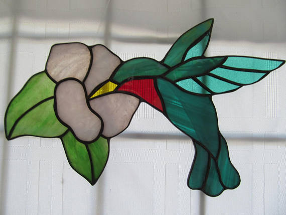 Hummingbird with Flower Stained Glas