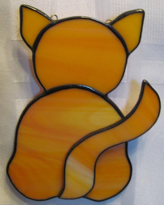 Kitty Butt Stained Glass Suncatcher