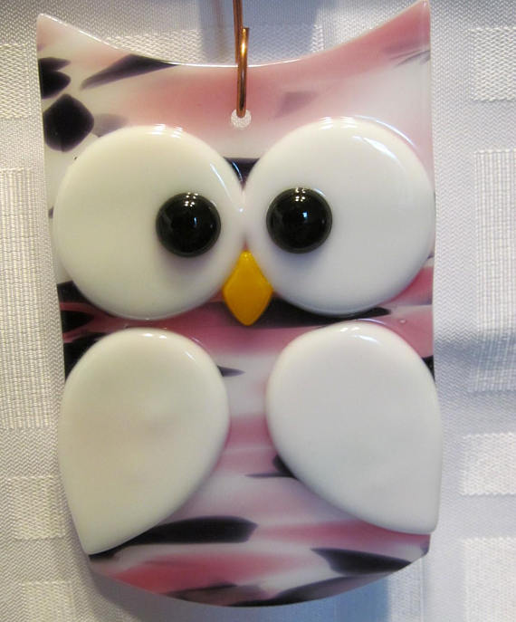 Fused Glass Owl Suncatcher