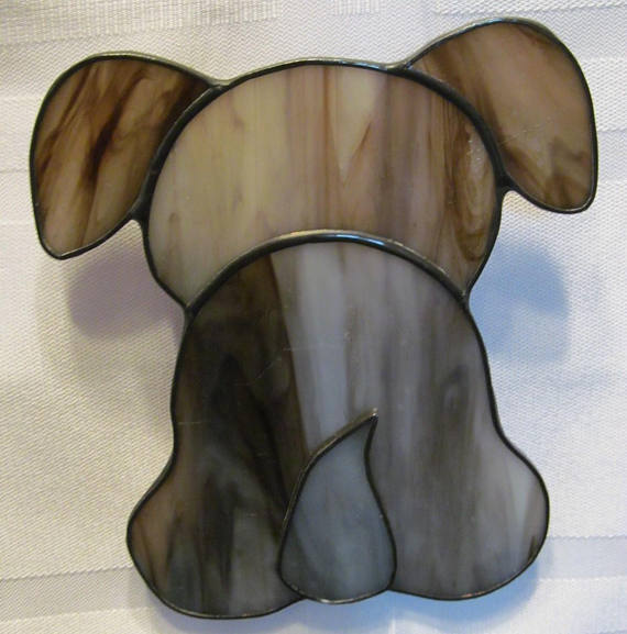 Puppy Butt Stained Glass Suncatcher