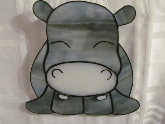 Hippo Stained Glass Suncatcher